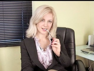 Horny secretary masturbates with her sex-toy on her break