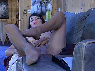 Muriel loving her nylon feet