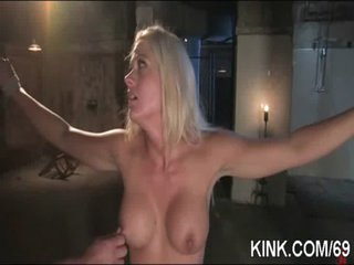 Hot charming gal cums and cries in Three-some BDSM sex