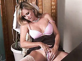 Sophisticated office woman strips and masturbates on break