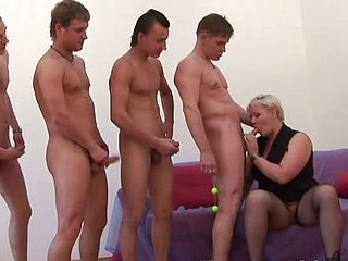 Chubby grandma satisfied with a DP and moresomes action