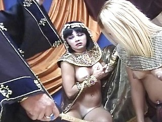 Pharaoh has some fun trying out the new beauty in his harem