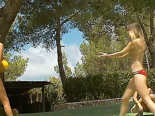 Pretty teenagers with nifty bodies playing naked outside and having lots of joy